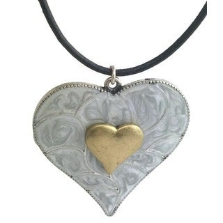 Mama Designs Handmade Grey Enamel Heart Charm on Leather Cord