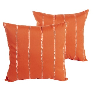 Perry Orange Dotted Stripes Indoor/ Outdoor 22 inch Square Pillow Set