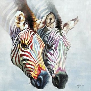 'Zebras in Color' Original Hand-painted Wall Art