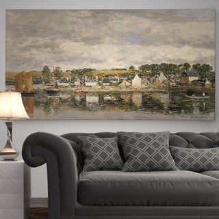 Wexford Home Eugene Boudin 'Village by a River' Premium Gallery-Wrapped Canvas Wall Art