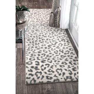 nuLOOM Modern Grey Leopard Spotted Runner Rug (2'8 x 8')