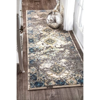 nuLOOM Vintage Faded Diamond Medallion Grey Runner Rug (2'8 x 8')