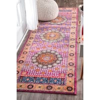 nuLOOM Traditional Vibrant Floral Pink Runner Rug - 2'8 x 8'
