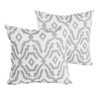 Perry Grey Geometric Indoor/ Outdoor 22 inch Square Pillow Set