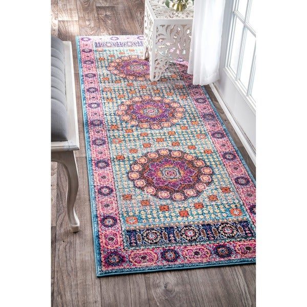 Shop NuLOOM Traditional Vibrant Floral Aqua Runner Rug