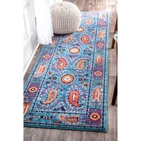 nuLOOM Traditional Vibrant Paisley Blue Runner Rug - 2'8 x 8'