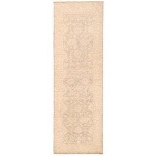 Herat Oriental Afghan Hand-knotted Vegetable Dye White Wash Oushak Wool Runner (2'7 x 8'1)