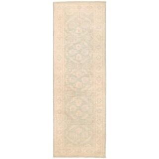 Herat Oriental Afghan Hand-knotted Vegetable Dye White Wash Oushak Wool Runner (2'9 x 8'1)