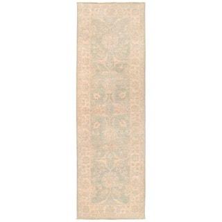Herat Oriental Afghan Hand-knotted Vegetable Dye White Wash Oushak Wool Runner (2'8 x 8'5)
