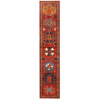 Herat Oriental Afghan Hand-knotted Vegetable Dye Turkoman Wool Runner (2'9 x 13'7)