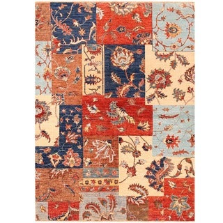 Herat Oriental Afghan Hand-knotted Vegetable Dye Patch Design Wool Rug (4'10 x 6'7)