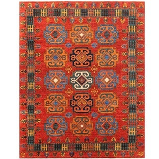 Herat Oriental Afghan Hand-knotted Vegetable Dye Turkoman Wool Rug (7'1 x 9')