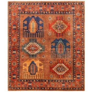 Herat Oriental Afghan Hand-knotted Vegetable Dye Turkoman Wool Rug (6'7 x 7'8)