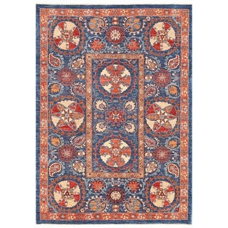 Herat Oriental Afghan Hand-knotted Vegetable Dye Suzani Wool Rug (5'7 x 8')