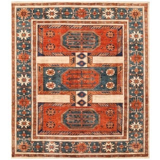 Herat Oriental Afghan Hand-knotted Vegetable Dye Turkoman Wool Rug (8'2 x 9'5)
