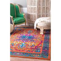 nuLOOM  Traditional Vibrant Medallion Orange Rug (4' x 6')