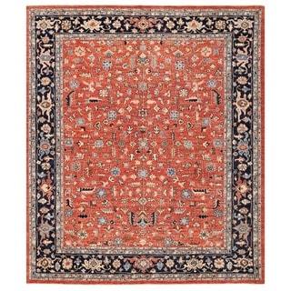 Herat Oriental Afghan Hand-knotted Vegetable Dye Kashan Wool Rug (8'5 x 9'10)