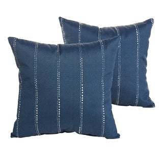 Perry Dotted Stripe Navy Indoor/ Outdoor 22 inch Square Pillow Set