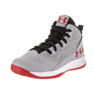 Under Armour Boys' BPS Jet Grey Synthetic Leather Mid Basketball Shoe