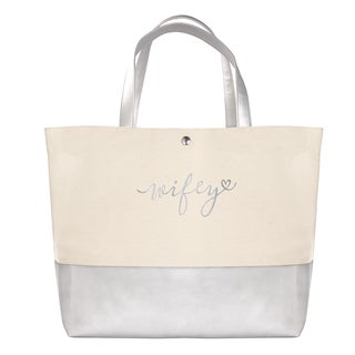 'Wifey' Silver Metallic Color Dipped Tote Bag