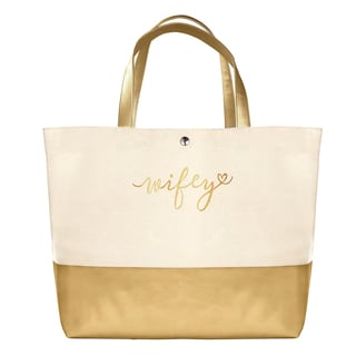 'Wifey' Metallic Gold-tone Faux Leather and Canvas Dipped Tote Bag