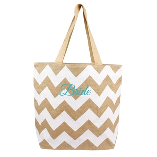 'Bride' Natural Jute Chevron Tote Bag