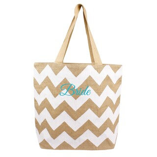 'Bride' Natural Jute Chevron Tote Bag - White