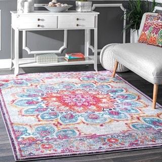nuloom vintage floral mandala pink rug 5u0027 x 7u00275 option