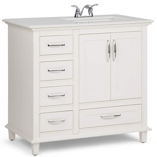 Wyndenhall Newton 36 Inch Traditional Bath Vanity In Soft White With Bombay White Engineered Quartz Marble Top Overstock 14332483