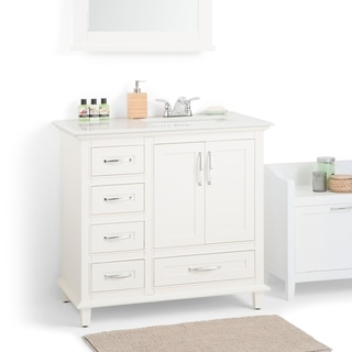 WYNDENHALL Newton 36 Inch Offset White Bath Vanity With White Quartz Marble  Top