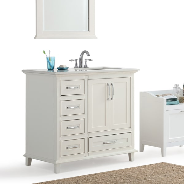 Newton 36 inch Right Offset Bath Vanity in Soft White with Bombay White Engineered Quartz Marble Top