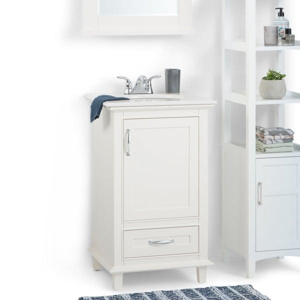 traditional bathroom vanities with white scheme   Shop WYNDENHALL Newton 20 inch Traditional Bath Vanity in ...