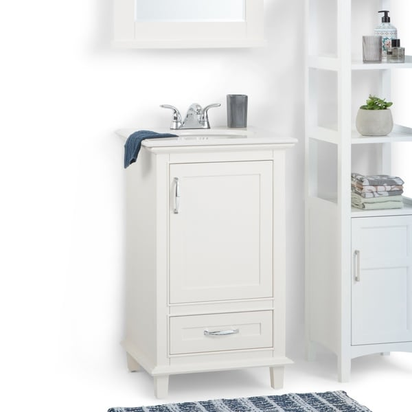 Shop Newton 20 Inch Bath Vanity In Soft White With Bombay White