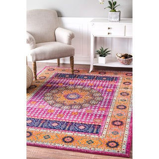 nuLOOM Traditional Vibrant Floral Pink Rug  (5' x 7'5)