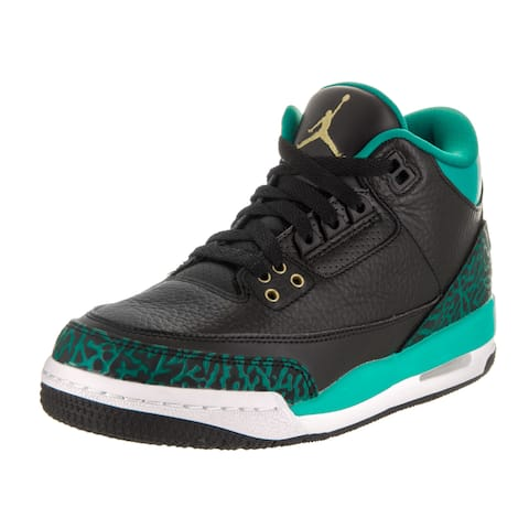 b05c75b4a5ba Nike Jordan Kids Air Jordan 3 Retro Gg Black Leather Basketball Shoes