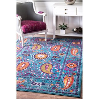 nuLOOM Traditional Vibrant Paisley Blue Rug (5' x 7'5)