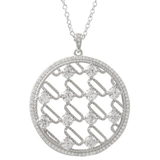 Luxiro Sterling Silver Cubic Zirconia 35-mm Circle Pendant Necklace