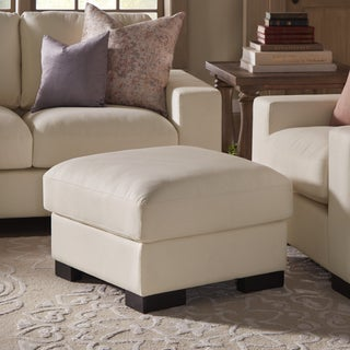 Lionel II White Cotton Fabric Down-Filled Ottoman by SIGNAL HILLS