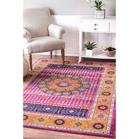 nuLOOM Traditional Vibrant Floral Pink Rug (8' x 10') - 8' x 10'