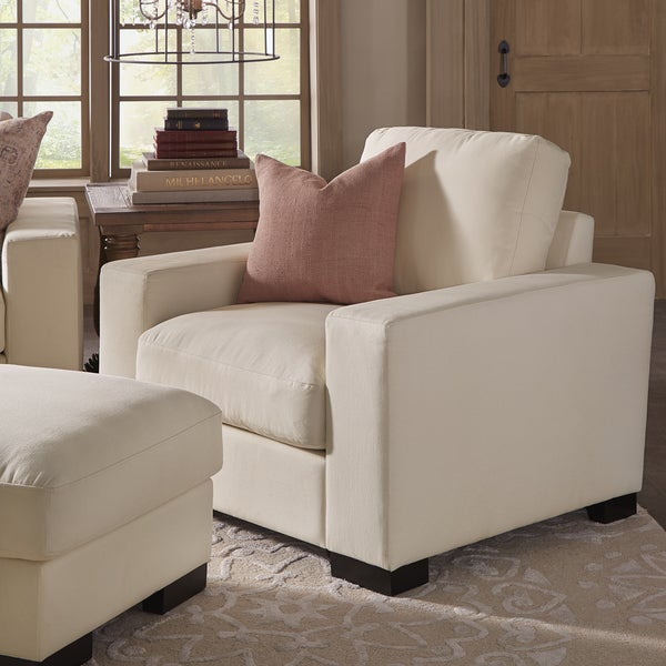 Lionel II White Cotton Fabric Down Filled Chair By INSPIRE Q Artisan
