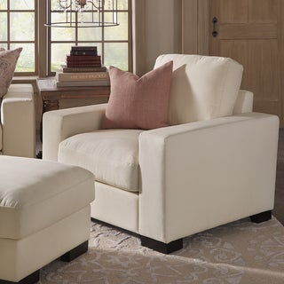 Lionel II White Cotton Fabric Down-Filled Chair by SIGNAL HILLS