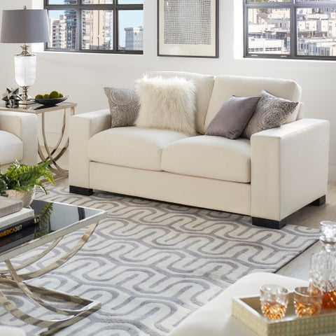 Lionel White Cotton Fabric Down-filled Loveseat by iNSPIRE Q Artisan
