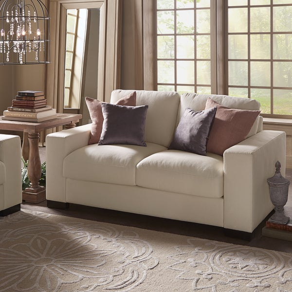 Merveilleux Lionel White Cotton Fabric Down Filled Loveseat By INSPIRE Q Artisan