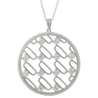 Luxiro Sterling Silver Cubic Zirconia 50-mm Circle Pendant Necklace