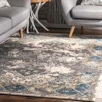 nuLOOM Vintage Faded Diamond Medallion Grey Rug (8' x 10') - 8' x 10'