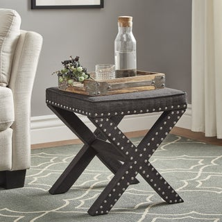 Parton Linen Fabric X-Base Nailhead 17 Inch Ottoman Bench by iNSPIRE Q Bold (2 options available)