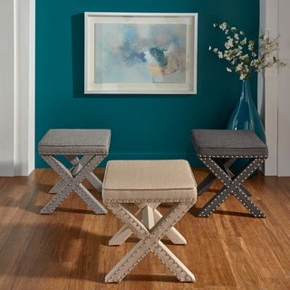 Link to Parton Linen Fabric X-Base Nailhead 17 Inch Ottoman Bench by iNSPIRE Q Bold Similar Items in Living Room Furniture