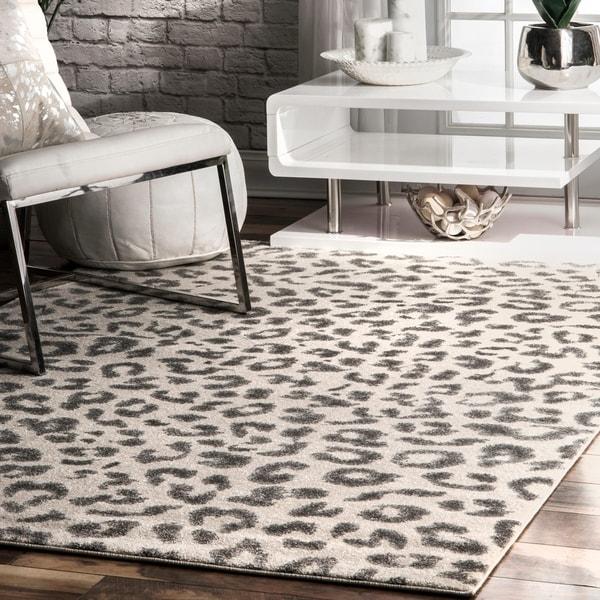 Animal Print Rug Grey: Shop NuLOOM Modern Grey Leopard Spotted Rug