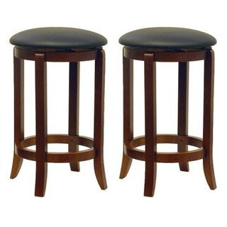 "Set of 2 Faux Leather Swivel 24"" Stool, Assembled"