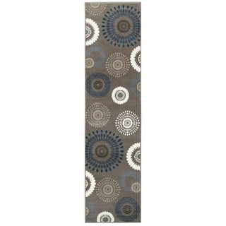 L and R Home Adana Charcoal/Blue Olefin Indoor Runner Rug ( 1'10 x 7'1) - 2' x 7'
